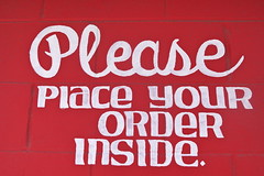 please (drew*in*chicago) Tags: red food chicago order handpainted signage font 2013