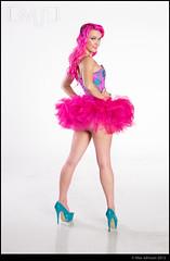 Super Pink Tutu, Corset, and Stockings (Max Johnson) Tags: pink woman stockings girl fashion lady high saturated model key colorful neon legs bright le heels corset fishnets raven mayhem tutu faye stillettos