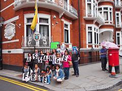 PQ220321 Julian Assange releases statement on Ed Snowden from Ecuadorean embassy  22.06.2013 (pete riches) Tags: signs london poster ecuador chelsea unitedkingdom cia surveillance prism police gb banners anonymous umbrellas deathpenalty snowden pentagon sanctuary placards usarmy execution prosecution nsa statedepartment whistleblower metpolice gchq whistleblowing hanscrescent rafaelcorrea swedishgovernment politicalasylum wikileaks viennaconvention ecuadorembassy julianassange assange peteriches freebradleymanning bradleymanning cablegate edsnowden rapeallegations swedishprosecutor