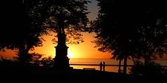 Sunrise over Lake Michigan (johndecember) Tags: park people usa fall statue wisconsin sunrise october gallery album milwaukee mke easttown 2013 juneaupark solomonjuneaustatue mke20131002