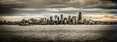 Panorama view of Seattle Skyline along the Puget Sound - Seattle Washington (mbell1975) Tags: seattle city panorama water skyline clouds buildings bay washington office waterfront view skyscrapers state pacific northwest cloudy panoramic sound along puget cityskyline mygearandme blinkagain ilobsterit