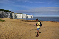 Kingsgate Bay, Kent, UK (**Anik Messier**) Tags: uk vacation holiday man beach coast boat kent ship cliffs coastal northsea chalkcliffs kingsgatebay coastaluk coastuk welcomeuk