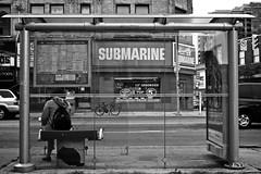 Waiting for a Ride (Stewart_Cowan) Tags: road blackandwhite white toronto black cars waiting ttc submarine dundas keele