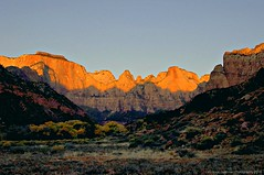 Early Morning Sun Reflection West Temple Zion N.P. (lhg_11, 2million views. Thank you!) Tags: mountains nature sunrise landscape utah meadow geology nationalparkservice nationalparks rockformations reflectedlight landscapephotography westtemple
