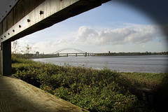 Runcorn Bridge from Wigg Island bird hide (ThePhotoMart) Tags: uk greatbritain bridge england canon naturereserve mersey runcorn birdhide rivermersey runcornbridge steelarchbridge canon60d wiggisland canoneos60d