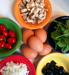 Sunday Brunch (Trish P. - K1000 Gal) Tags: breakfast square mushrooms colorful tomatoes squareformat olives eggs brunch onion organic bowls fiestaware spinach iphone iphone5 slickrsnaps