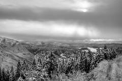 Bergen by winter (Steinskog) Tags: sol vinter bergen vann skyer fjell snø trær