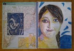 Atlas of Art  ~ 2 page spread ~ Adrienne (Gila Mosaics n'stuff) Tags: portrait art artist acrylic portraitparty linoleumcut 2pages jkpp flickrandroidapp:filter=none inatlas