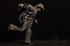 Blind Cowboy on the run (Dennis Valente) Tags: actionfigure doll posed 3a figurine articulated blindfold 2014 ashleywood superset articulating 16scale emitbrown threeatoys blindcowboy popbotuniverse deadequinesuperset theblindgunslinger