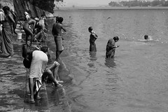 Ghat. (F P Boige) Tags: old ladies people woman white man black hot west men wet water up lady river naked nude women bath skin indian prayer pray praying young tan holy fabric heat ritual crow bathing pure saree bengal washing ganga tanned ghat purification howrah gange ablutions dothi indiablach
