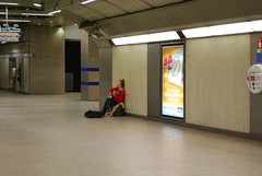Lonely busker (OlenkO) Tags: woman london girl underground hall loneliness singing empty tube singer