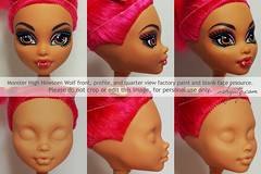 Howleen Wolf blank face (AshGUTZ) Tags: cute girl face monster high doll factory view skin profile tan makeup front blank quarter frontview quarterview blankface factorypaint monsterhigh howleenwolf factoryface facewiped repaintresource