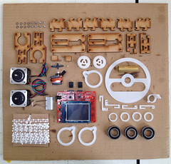 PolargraphSD Vitamin kit (Euphy) Tags: cord layout 3d acrylic parts tube machine driver bolts motor neat pcb brass printed washers beaded mdf sprocket bearings arduino stepper knolling polargraph polarshield lasercu