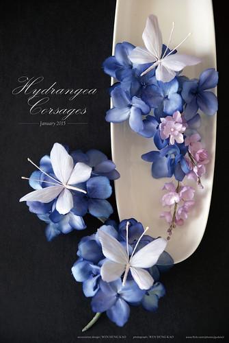 紫陽花與蝴蝶胸花