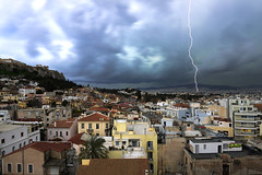 GREECE (BoazImages) Tags: travel storm weather europe stormy athens greece plaka thunderstorm lightning acropolis boazimages