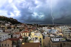 GREECE (BoazImages) Tags: travel storm weather europe stormy athens greece plaka thunderstorm lightning acropolis boazimages