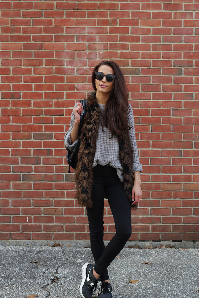 sweater and faux fur   disco daydream