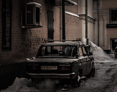 The good old Lada (Brightway Photography) Tags: street morning winter snow cold building ice car lights shadows russia moscow strasse streetphotography moskau lada russland