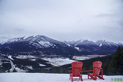 Red Relax (DKG Images) Tags: life trees winter light red sky cloud mountain lake snow canada mountains clouds forest canon chair view chairs seat joy damien explore alberta banff outlook overlook goodyear vermilion dkg explored 60d dkgimage dkgimages