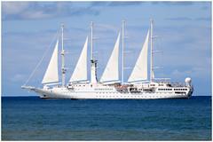 WIND SPIRIT (SergeK ) Tags: sea mer white bay boat costarica sailing wind yacht spirit flags bleu drake windspirit sergek