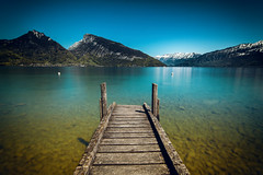 Pier (NIOphoto.) Tags: longexposure blue sky mountain lake mountains water landscape schweiz switzerland see pier nikon wasser stage jetty smooth tokina landing alpine thun thunersee oberland faulensee