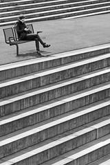 Sonate (TablinumCarlson) Tags: leica woman 6 girl stairs germany bench deutschland harbor harbour north steps bank treppe nrw frau hafen nordrheinwestfalen rheinland neuss dlux stufen rhinewestphalia einfarbig hafenbecken binnenhafen sonate novesia