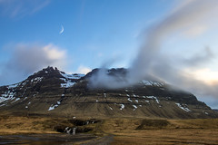 Is there a place that doesn't require time? (OR_U) Tags: longexposure bridge sunset sky moon mountain motion water composite clouds waterfall iceland movement prince le oru 2016 kirkjufellsfoss