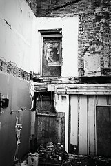 DaR3-063-30 (David Swift Photography Thanks for 16 million view) Tags: abandoned film philadelphia 35mm urbandecay debris demolition posters northernliberties ilfordxp2 yashicat4 davidswiftphotography
