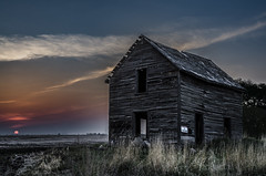 Smoky Sunset (Stubble Jumper Photography) Tags: sunset abandoned sign smoke alberta dilapidated notrespassing wildfire