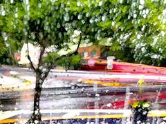 Rain on my Windshield (tisatruett) Tags: city light color car rain landscape town colorful day jeep rainy lighttrails windshield
