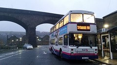 First Halifax, 34211 S211 LLO (Josh's Bus Photos) Tags: west bus station one 1 volvo flood yorkshire first route part calder valley portsmouth halifax northern todmorden counties palatine llo olympian 592 594 590 s211 s211llo 34211