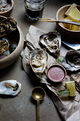 Oysters and ale. (Darren-Muir) Tags: food hot zeiss photography sauce sony ale shell guinness 55mm appetizer oyster 18 styling a7r