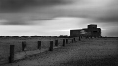 bunker (murrin1985) Tags: 5x4 hp5 blackandwhite isleofsheppey shellness atm groin nightscape wista 90mm