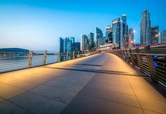 Financial District (Damien Borel) Tags: longexposure travel blue sunrise singapore asia financialdistrict bluehour boblastic damienborel
