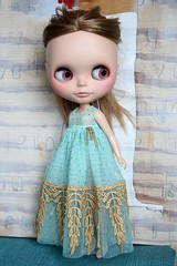 Eastbound And Gown (Button Arcade) Tags: blue dress blythe gown artfire buttonarcade