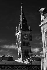 Darlington Town Clock (Preston Ashton) Tags: england blackandwhite bw white black tower clock monochrome clouds town place market darlington prestonashton