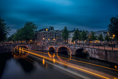"""""""Venice of the North"""" (angheloflores) Tags: travel bridge houses sky urban netherlands colors amsterdam architecture night clouds lights canal cityscape explore susnet"""