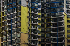 Over-Population (Melissa Boodoo) Tags: world life china city travel pink blue people urban orange plants colour building green window nature lines animals yellow contrast buildings outdoors living globe purple outdoor pastel live indoor structure explore caged southeast journalism bold concret architure viberant vsco vscocam