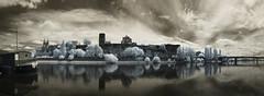 Raw (Lolo_) Tags: bridge reflection tower castle river ir boat tour maine rivire reflet arbres ren infrared pont chateau loire quai barge ardoise cathedrale berges roi peniche angers ligny infrarouge doutre