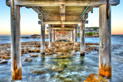 under bridge, bare island (la perouse) (Greg Rohan) Tags: bridge jetty missionimpossible botanybay woodenbridge laperouse underbridge bareisland jettys underboardwalk d7200