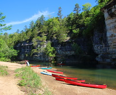 Upstream End of Briar Bluff on Buffalo River - Ozark Campground Near Pruitt, Arkansa (danjdavis) Tags: canoes arkansas bluff buffalonationalriver buffaloriver ozarkcampgrund briarbluff
