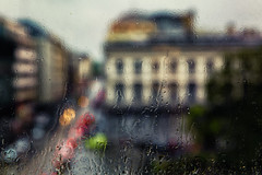 Project 366 - 172/366: Should I stay or shoud I go ? (sdejongh) Tags: street brussels urban blur home window rain weather contrast work project focus mood bokeh droplet projet 366 172366