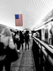 July 4th (technovore) Tags: station train unitedstates flag corridor 4th july americanflag trainstation commute fourthofjuly commuting july4th pennstation