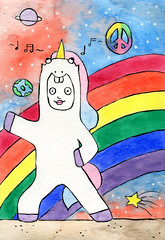 Unicorn Dancing (natchawicha91) Tags: art illustration watercolor painting artist watercolour universe unicorn natchawi