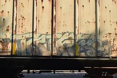 TRIFE (TheGraffitiHunters) Tags: street old white black art train graffiti colorful paint tracks spray graff hopper freight trife benched benching