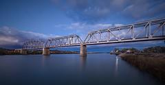 Rail bridge after sunset (Bridge Framer) Tags: longexposure panorama canon river bridges rivers southaustralia murray murrayriver murraybridge scenicsnotjustlandscapes 1124l