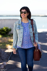 Printed tank, denim jacket, jeans, lace up flats, ona camera bag-4.jpg (LyddieGal) Tags: california ona sanfrancisco blue camerabag denim fashion gap gorjana jojo laceupflats outfit rayban spring style tjmaxx travel vacation wardrobe weekendstyle