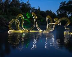 Dance on the river. (Nikolas Fotos) Tags: longexposure nightphotography lightpainting reflection nightscape nightshot nightphoto lichtmalerei lightart llightpainting lightpaintingphotography