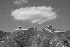 Cloud over the Great Wall of China (stevelamb007) Tags: china bw cloud monochrome landscape ancient nikon beijing greatwall 18200mmvr stevelamb d7200