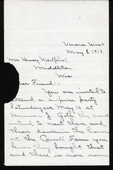 1913_May_Invite_Westphal_to_surprise_Herman_Goth_1 (Max Kade Institute for German-American Studies) Tags: westphal family familie genealogy middleton handwriting script cursive letter brief henrywestphal heinrichwestphal hermangoth lillianhaak haak goth